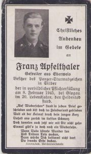 Panzer Soldier Death Notice 1945 (PKA)