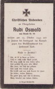 Luftwaffe Soldier Death Notice 1943 (Leningrad)