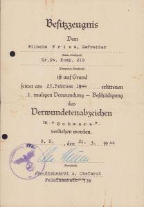 Krank.Kw.Komp.219 VWA Award Document