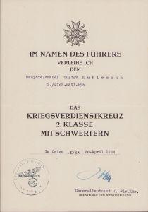 2./Sich.Batl.696 KvKII Award Document (1944)