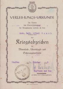 Kriegsmarine Minensucher Award Document (Italy 1943)