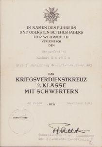 St.I.Btl. Gren.Rgt.485 KvKII Award Document