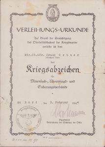 Kriegsmarine Minensucher Award Document (Ostsee 1944)