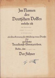 Treudienst-Ehrenzeichen in Gold Award Document
