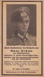 Panzerjäger Gefreiten Death Notice (VWA/Ost)
