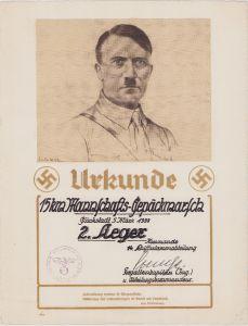 Urkunde Mannschafts-Gepäckmarsch 1938 (KM)