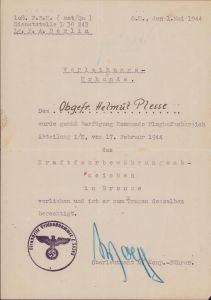 F.B.K.Kraftfahrb.Abz. Award Document (KG27)