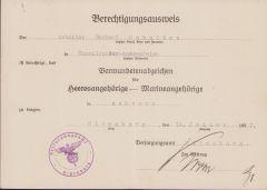 WW1 VWA Marine Award Document