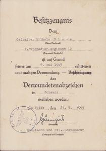 1./Gren.Rgt.12 VWA Award Document