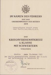 KvKII Award Document II.Armee.Kommando