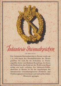 'Infanterie-Sturmabzeichen in Bronze' Postcard