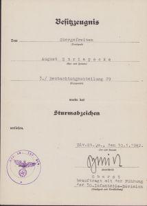 3./Beobachtungsabteilung 29 ASA Award Document