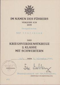 232.Inf-Div. KvKII Award Document 1944 (Italy)