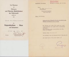 6.Fahrkolonne.196 KvKII Award Document Set