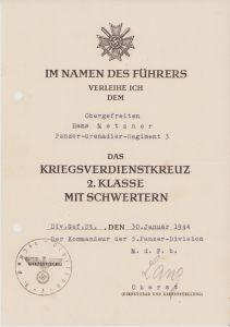 Pz.Gren.Rgt.3 KvKII Award Document 1944