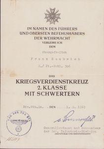 2.Pi.-Batl.306 KvKII Award Document (1942)