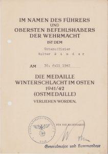 Ostmedaille Award Document 1942 (H.Waffenmeisterschule)