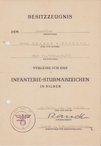 Stab II./Gren.Rgt.366 ISA Award Document