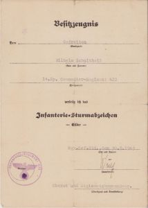 14.Kp.Gren.Rgt.422 ISA Award Document