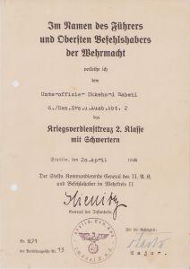 6./San.Ers.u.Ausb.Abt.2 KvKII Award Document
