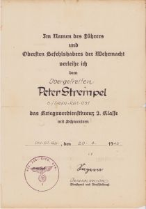 6./Gren.Rgt.931 KVKII Award Document