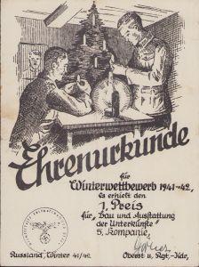 Ehrenurkunde Winterwettbewerb 1941-42