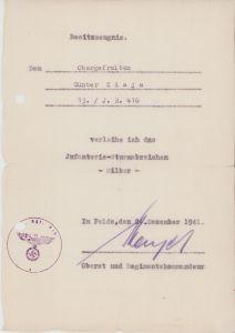 13./Inf.Rgt.416 ISA Award Document (Demjansk)