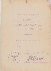 2./Inf.Rgt.497 ASA Award Document (1941)