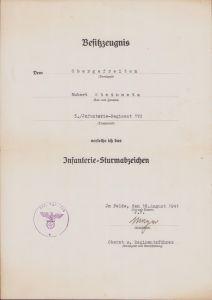 5./Inf.Rgt.170 ISA Award Document 1941