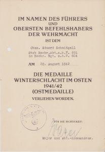 Stab.Nachr.Abt.691 Ostmedaille Award Document