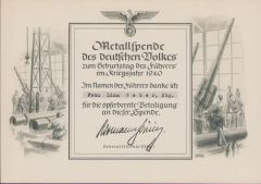 WHW 'Metallspende 1940' Certificate