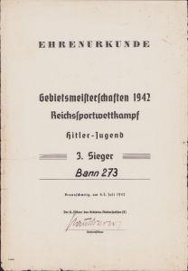 Large Ehrenurkunde 'Reichssportwettkampf 1942'
