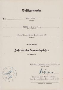 Stab./Gren.Rgt.253 ISA Award Document