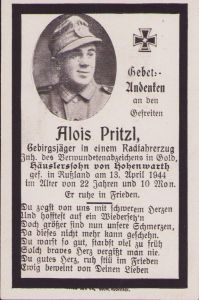 Gebirgsjäger Death Notice 1944 (VWA Gold)