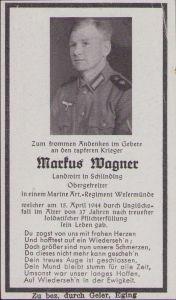 Marine-Artillerie Death Notice 1944 (Accident)