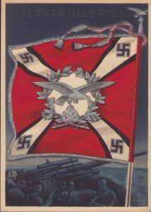 Fahnen der Deutschen Wehrmacht 'Flakartillerie' Postcard
