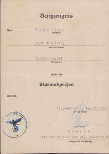 3./Art.Rgt.294 ASA Award Document (1942)
