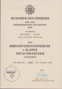 Kdo./132.Inf.Div. KVK 1.Klasse Award Document