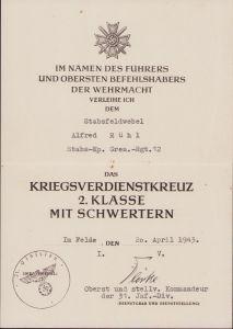 Stabs-Kp.Gren.Rgt.12 KvKII Award Document