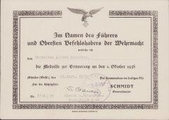 Flak-Rgt.24 1.Okt.1938 Award Document