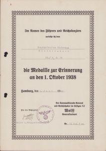 Kampgeschwader 26 1.Okt.1938 Award Doc.
