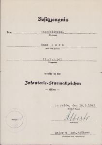 11./Inf.Rgt.501 ISA Award Document