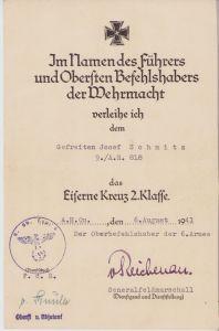 9./Art.Rgt.818 EKII Award Document