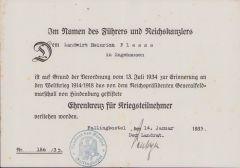 Ehrenkreuz für Kriegsteilnehmer Award Document