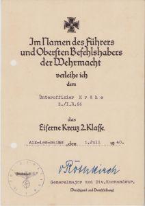 2./Inf.Rgt.66 EKII Award Document (1940)