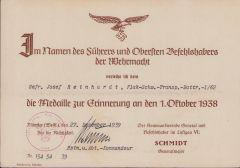 Flakschw.Transp.Btr.1/62 1.Okt.1938 Award Document