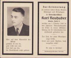 SS-Unterscharführer Death Notice 1943