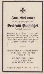 SS-Panzergrenadier Death Notice 1944