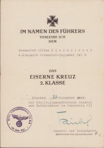 4.Kp/Gren.Rgt.(m)8 EK2 Award Doc (Aachen/Ardennes)