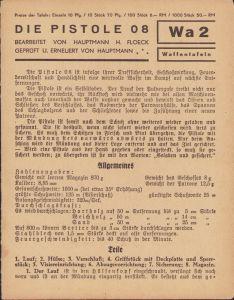 Period 'Die Pistole 08' Instruction Card